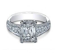 This images shows the setting with a 2.00 carat emerald cut center diamond. The setting can be ordered to accomodate any shape/size diamond listed in the setting details section below.