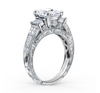 This image shows the setting with a 1.00ct emerald cut center diamond.
