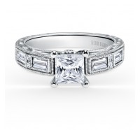 This image shows the setting with a 1.00ct princess cut center diamond.