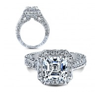 This image shows the setting with a 3.00 carat asscher cut center diamond. The setting can be ordered to accommodate any shape/size diamond listed in the setting details section below.