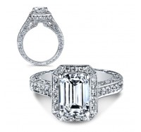 This image shows the setting with a 3.00 carat emerald cut center diamond. The setting can be ordered to accommodate any shape/size diamond listed in the setting details section below.