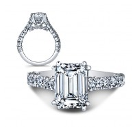 This image shows the setting with a 2.00 carat emerald cut center diamond. The setting can be ordered to accommodate any shape/size diamond listed in the setting details section below.