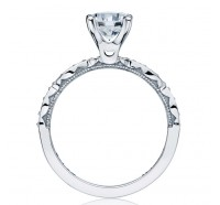 This image shows the setting with a 1.00ct round brilliant center diamond. The setting can be ordered to accommodate any shape/size diamond listed in the setting details section below.