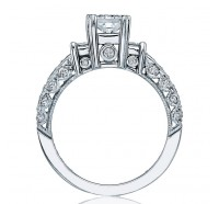 This image shows the setting with a 0.50ct princess cut center diamond. The setting can be ordered to accommodate any shape/size diamond listed in the setting details section below.
