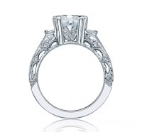 This image shows the setting with a 1.50ct asscher cut center diamond. The setting can be ordered to accommodate any shape/size diamond listed in the setting details section below.