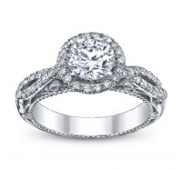 This image shows the setting with a 1.00 round brilliant cut diamond. The setting can be ordered to accommodate any shape/size diamond listed in the setting details section below.