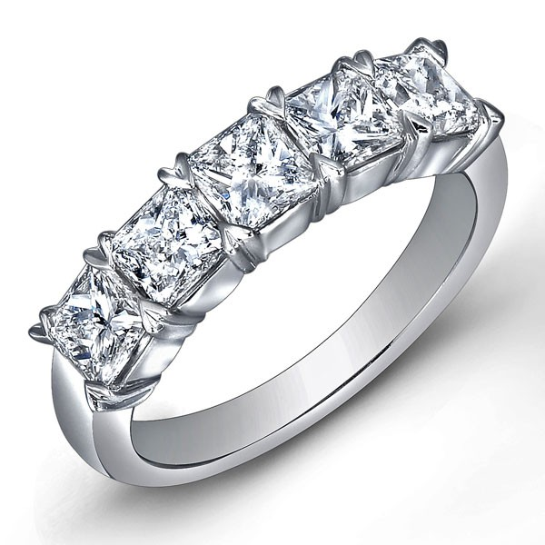 Classic Princess Cut 5 Stone Diamond Wedding Ring