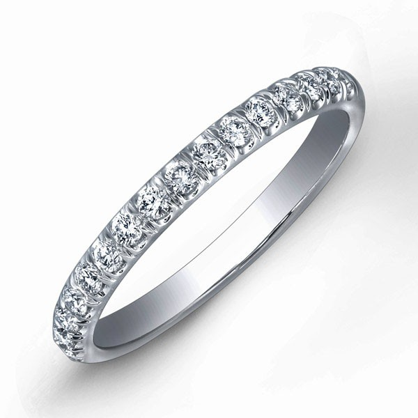 Low Profile Round Brilliant Diamond Wedding Ring