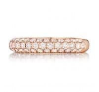 Pave Set Round Brilliant Diamond Wedding Ring