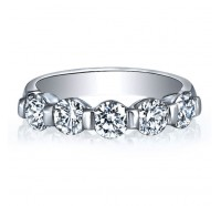 Bar Set Round Cut 5 Stone Diamond Wedding Ring
