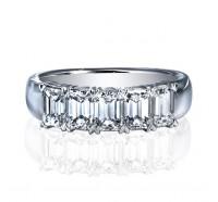 Classic Emerald Cut 5 Stone Diamond Wedding Ring