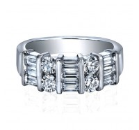 Baguette and Round Diamond Anniversary Band