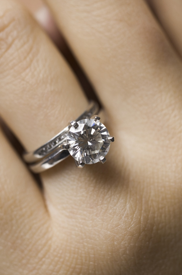 wear them on ring finger wedding band on top - Wedding Engagement Rings