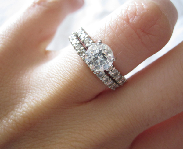 How to wear a wedding ring set the right way keeping with tradition you can wear both rings on the left hand on the ring finger but with the engagement ring on top this could be because you like it junglespirit Image collections