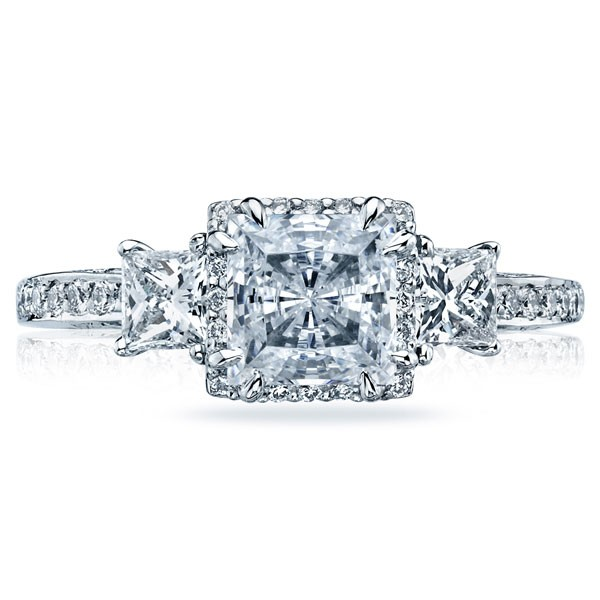 691b85822417 This image shows the setting with a 1.50ct princess cut center diamond. The  setting can be ordered to accommodate any shape size diamond listed in the  ...