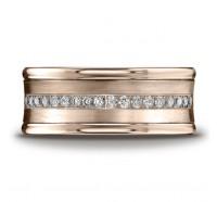 14K Rose Gold 7.5mm Diamond Wedding Band