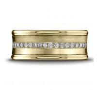 14K Yellow Gold 7.5mm Diamond Wedding Band