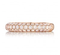 Pave Set Round Brilliant Diamond Wedding Ring