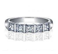 Bar Set Princess Cut 5 Stone Diamond Wedding Ring