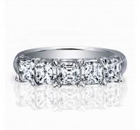 Classic Asscher Cut 5 Stone Diamond Wedding Ring