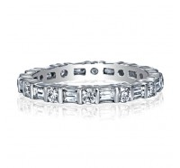 Bar Set Round and Baguette Diamond Eternity Ring