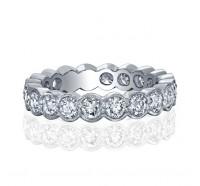 Bezel Set Milgrain Round Diamond Eternity Ring