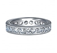 Channel Set Round Cut Milgrain Diamond Eternity Ring
