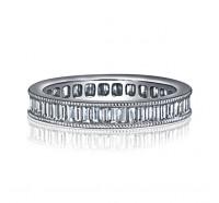 Channel Set Baguette Milgrain Diamond Eternity Ring