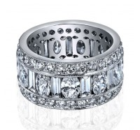 Oval, Baguette and Round Diamond Anniversary Band