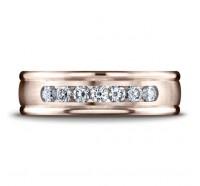 14K Rose Gold 6mm Diamond Wedding Band