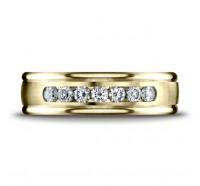 14K Yellow Gold 6mm Diamond Wedding Band