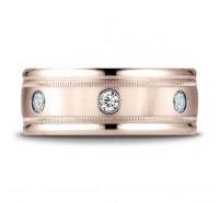 14K Rose Gold 8mm Diamond Wedding Band