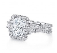 Uneek Silhouette Silhouette-LVS983RAD Engagement Ring