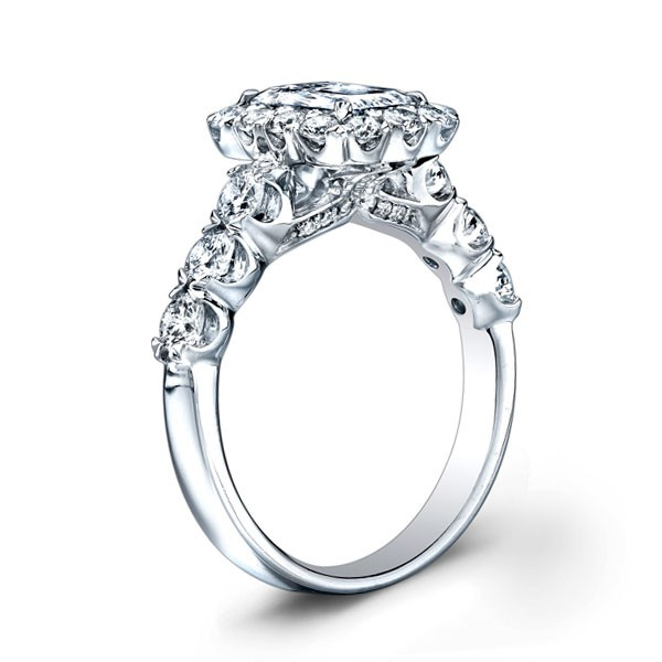 2b6f6c363 This image shows the setting with a 1.50 carat emerald cut center diamond.  The setting can be ordered to accomodate any shape/size diamond listed in  the ...